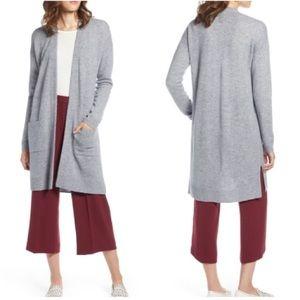 Halogen Rib Knit Wool & Cashmere Gray Cardigan XS